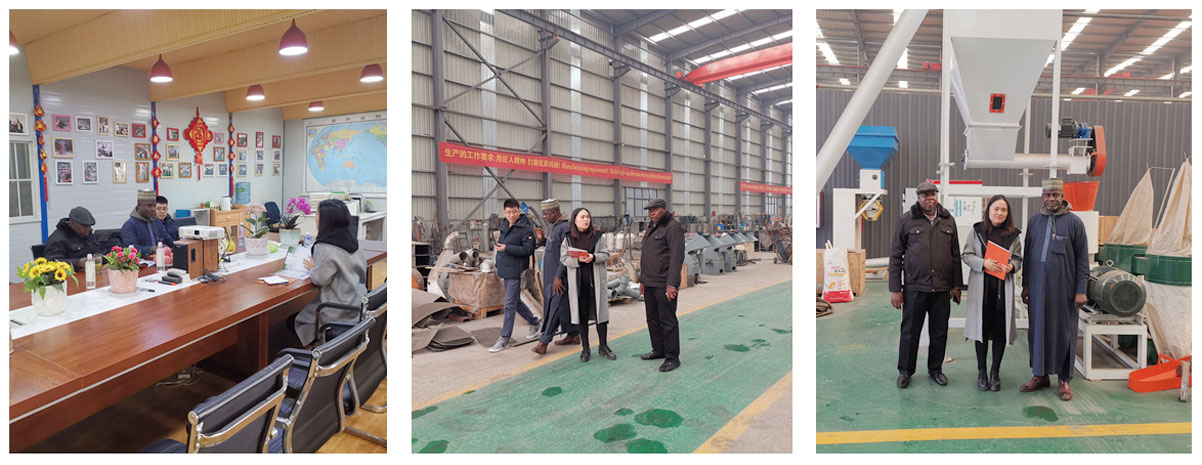 Customers, from Nigeria, visit our factory for Feed Production Machines